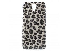 Bílé pouzdro s leopardím vzorem pro HTC Desire 620